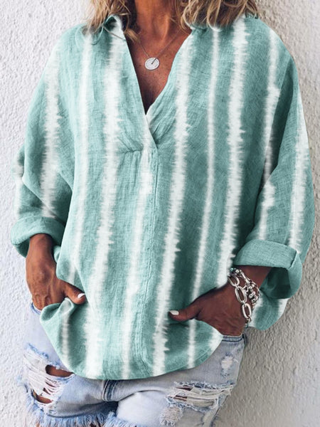 V Neck Cotton Stripes Holiday Shirts & Tops
