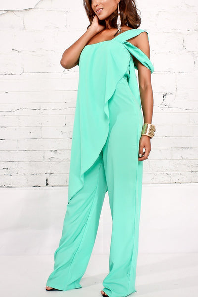Solid Spaghetti Cold Shoulder Jumpsuits
