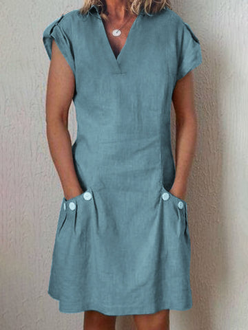 Shirt Collar V Neck Shift Plus Size Dress