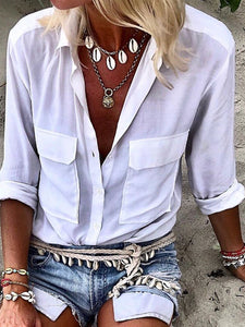 Casual Plain Buttoned Turn-down Collar Long Sleeve Blouse