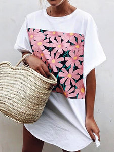 Floral Short Sleeve Crew Neck Shirts