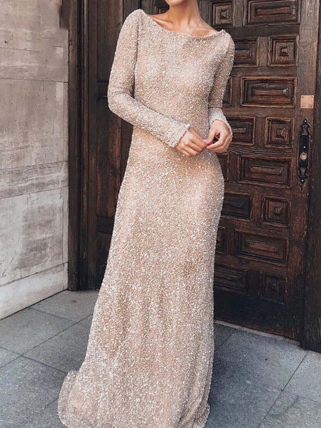 Crew Neck Apricot Women Prom Dresses Party Solid Dresses