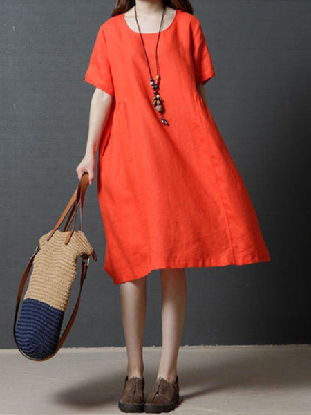 Swing Solid Casual Crew Neck Vintage Dress