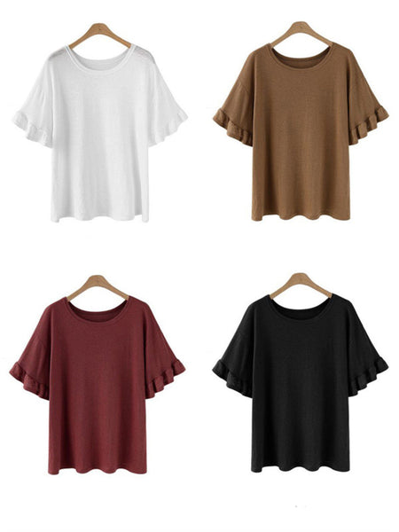 Plus Size  Short Sleeve Crew Neck Plain T-Shirt