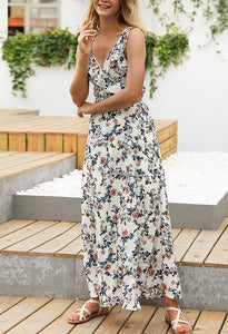 Supperdaily Floral V-Neck Backless Princess Dress