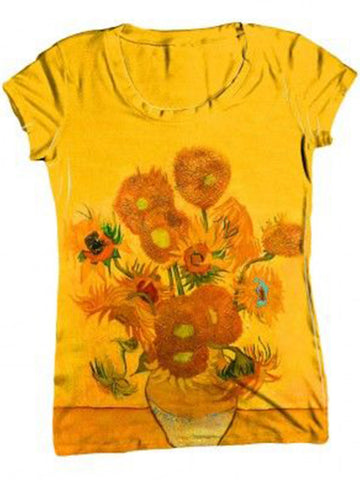 Flower Crew Neck Cotton-Blend Short Sleeve Vintage Shirts & Tops