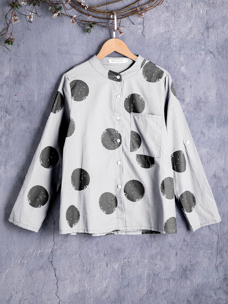 Long Sleeve Cotton Solid Basic Blouse