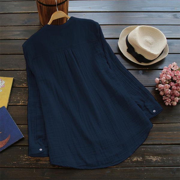 Solid Casual Long Sleeve Lapel Shirt