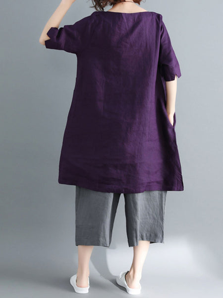 Casual Solid Round Neck Plus Size Long Blouse