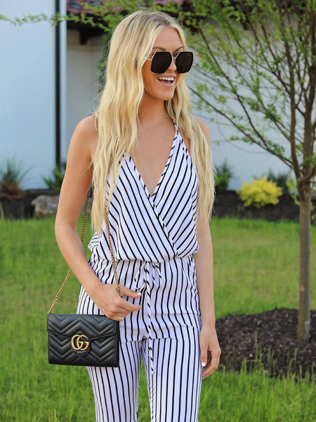 Women Black-and-white Striped Pants
