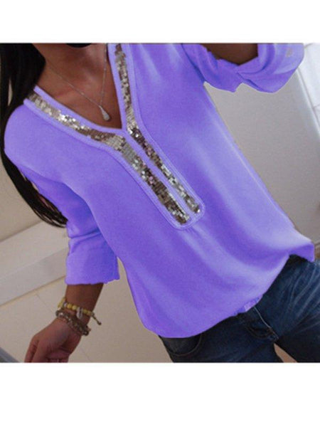 Casual V Neck Plus Size Long Sleeve Blouse