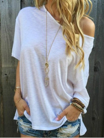 Solid Casual Short Sleeve Blouse