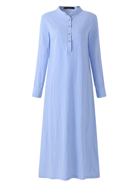 Women Solid Stand Collar botton Cotton and Linen Dresses