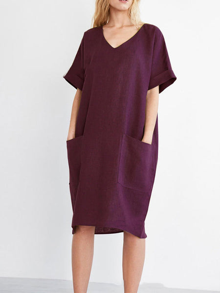 V Neck Solid Casual Short Sleeve Dress