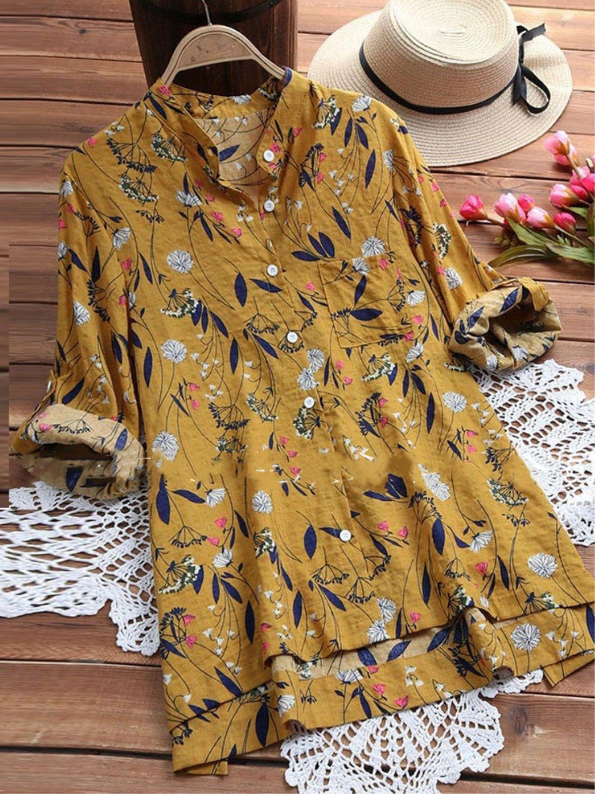 Plus Size Floral Printed Casual Long Sleeve Blouse