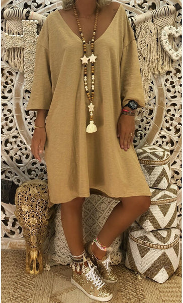 Cotton 3/4 Sleeve Dress