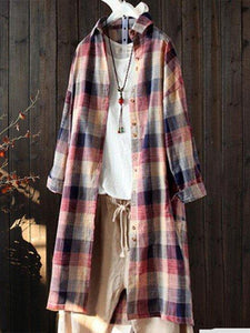 Plus Size Checkered Casual Buttoned Long Sleeve Blouse