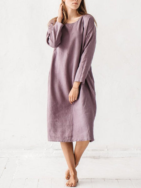 Casual Long Sleeve Linen Midi Dress