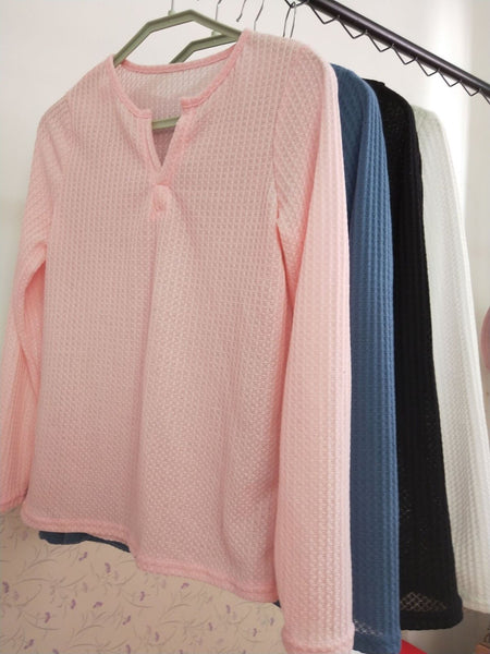 Cotton V Neck Solid Long Sleeve Blouse