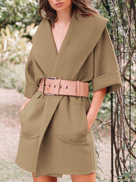 Casual Solid Shawl Collar 3/4 Sleeve Pockets Coat