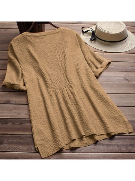 Short Sleeve Casual Linen Blouses