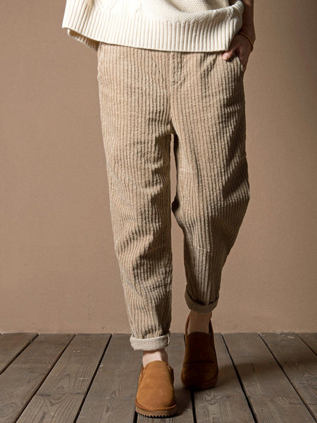 Plain Pockets Corduroy Pants