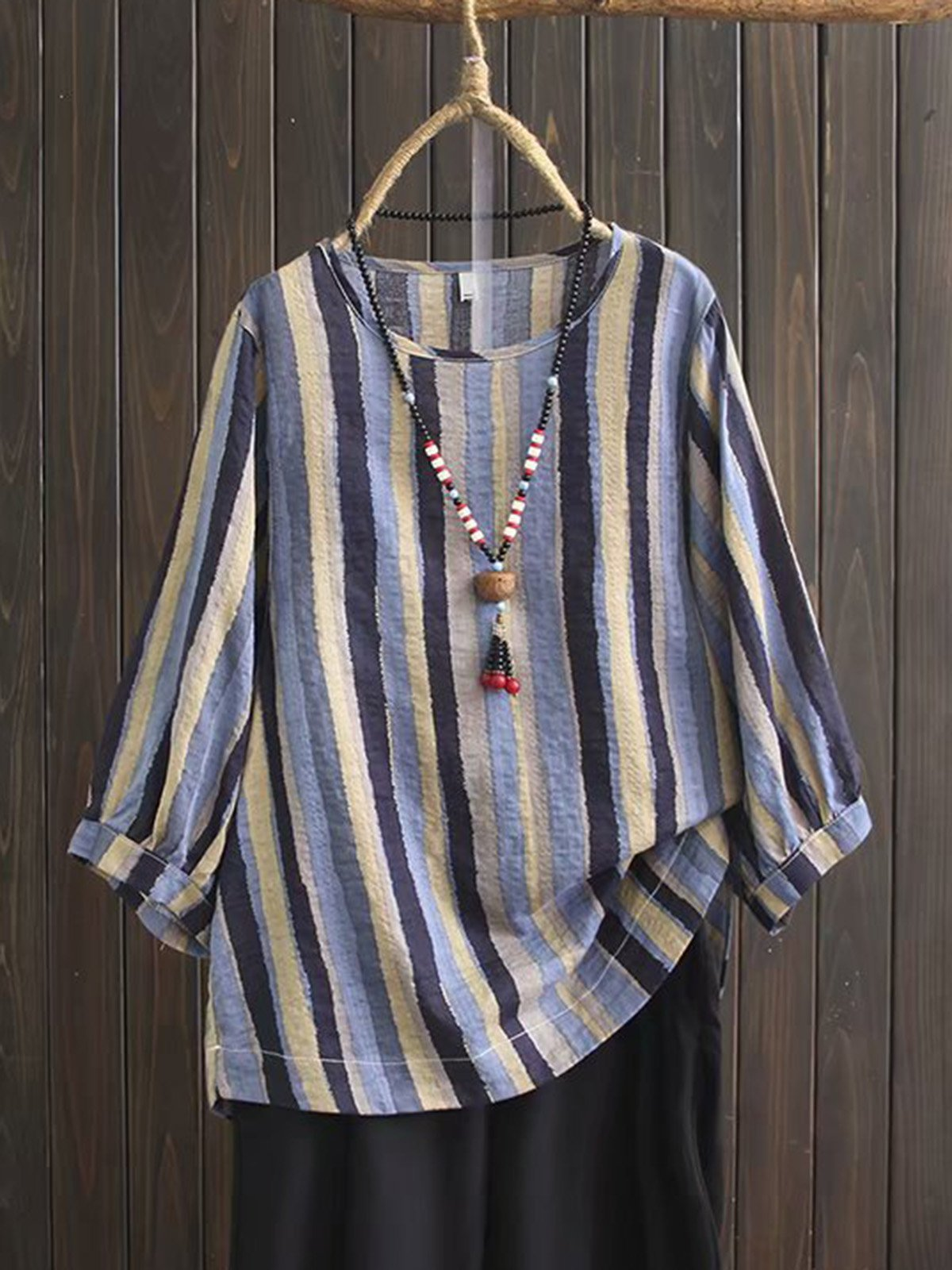 Vintage Colour Stripe  Middle Sleeve Shirt