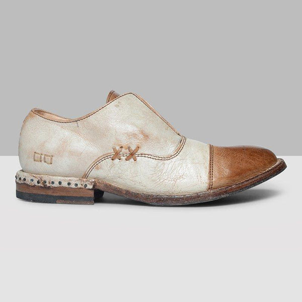 Women's Leather Cap Toe X Stitching Vintage Loafers