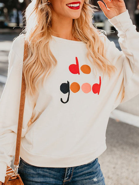 White Plus Size Bateau/boat Neck Casual Embroidery Sweatshirts