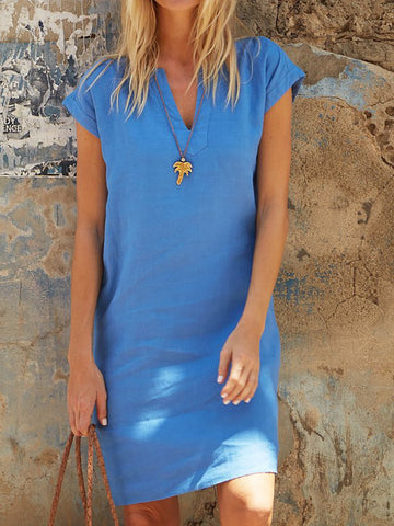 V Neck Women V-neck Daytime Solid Dress