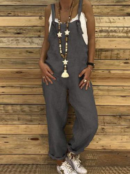 Solid Loose Style Casual Jumpsuit
