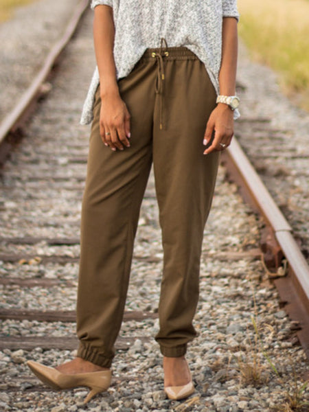 Coffee Casual Drawstring Solid Pants