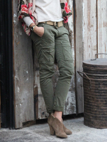 Army Green Solid Pockets Casual Pants