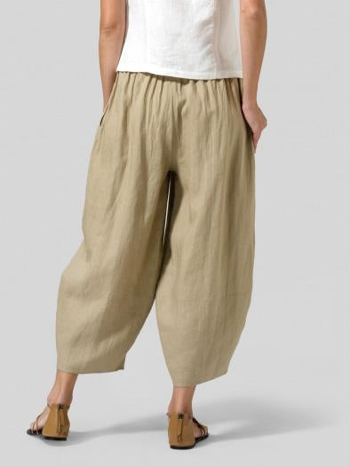 Solid Casual Pockets Cotton-Blend Pants