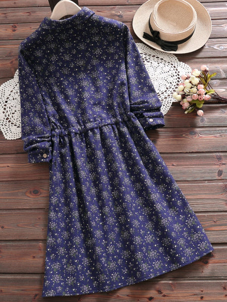 Printed Buttoned A-Line Gathered Daytime Dress