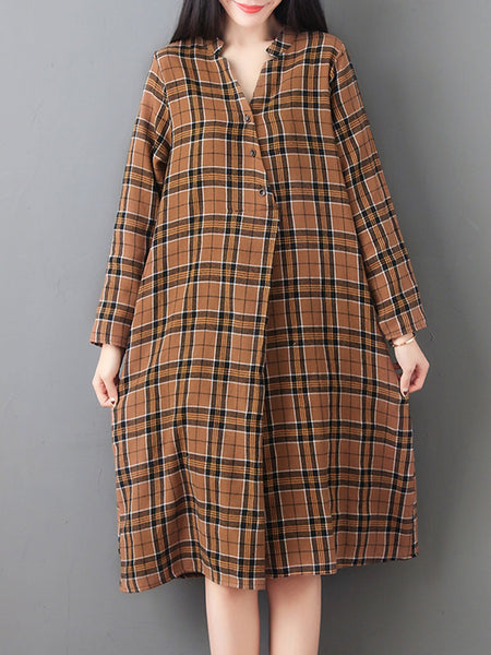 Shift Casual Checkered/plaid Long Sleeve Dress