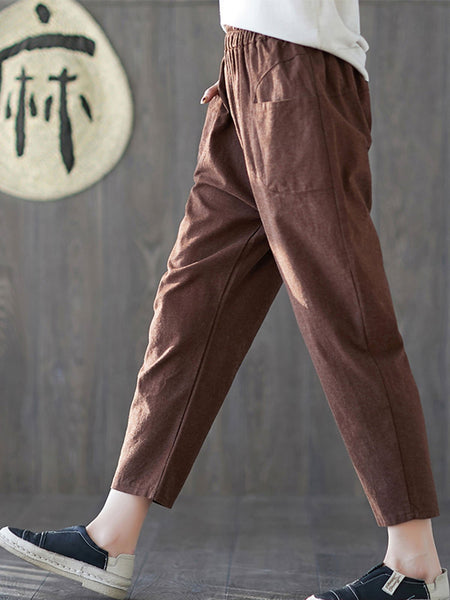 Daily Casual Solid Plus Size Pants