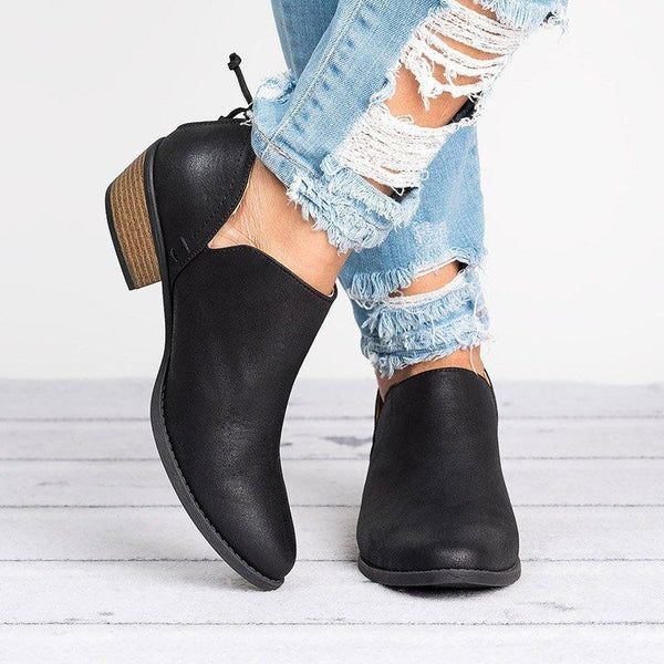 Plus Size Chunky Heel Short Boots Female Non-slip Cute Bootie