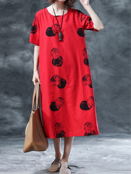 Red Polka Dots Printed Crew Neck Short Sleeve Midi Dress