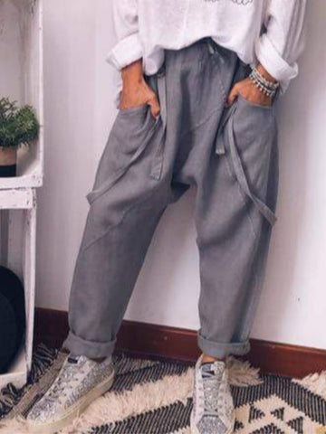 Gray Solid Cotton-Blend Casual Pants