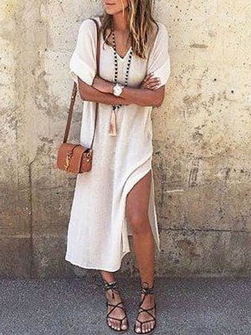 White Shift Slit V Neck Half Sleeve Dress