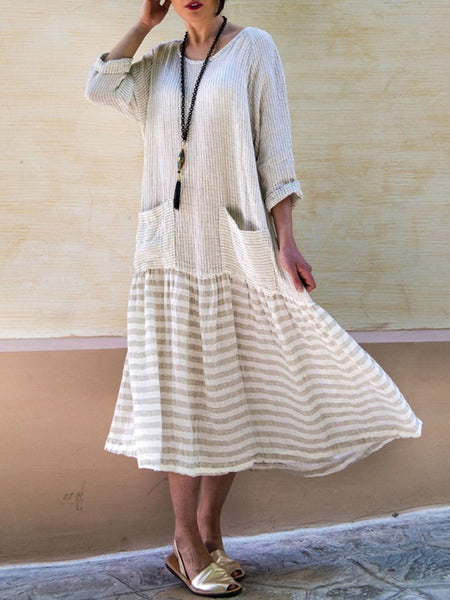 Plus Size Casual Striped 3/4 Sleeve Pockets Maxi Dress