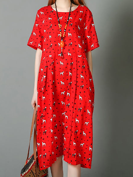 Shift Cute Crew Neck Short Sleeve Floral-Print Daily Midi Dress