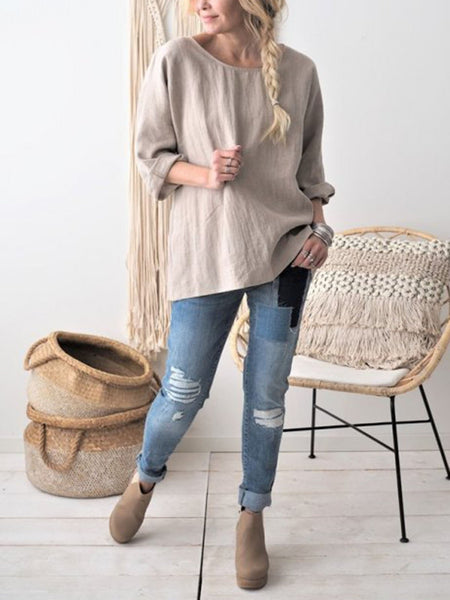 Daily Casual Long Sleeve Plus Size Blouse