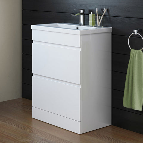 600mm Trent High Gloss White Double Drawer Basin Cabinet - Floor Standing