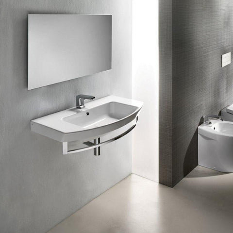 SANEUX POPPY 800MM WALL MOUNTED BASIN WITH CHROME TOWEL RAIL