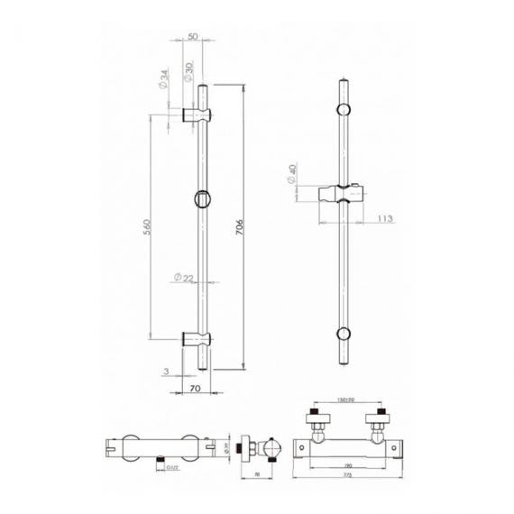 Pura Arco Exposed Shower Valve with Slide Rail Kit