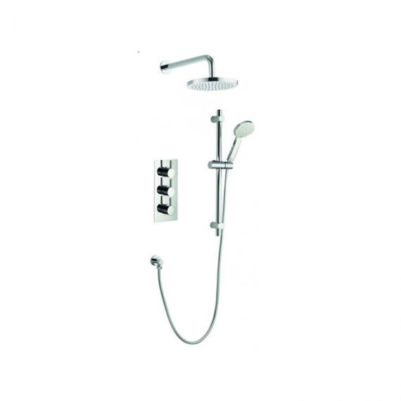 Pura Arco Twin Outlet Shower Valve with Fixed Shower Head & Slide Rail Kit