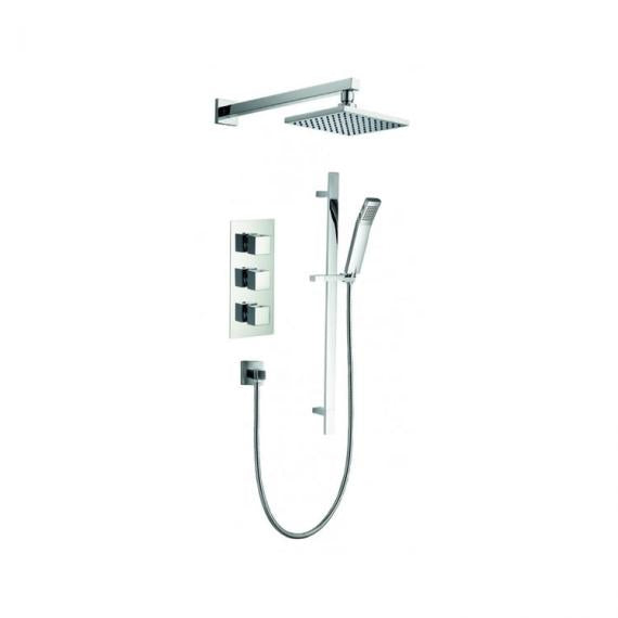 Pura Bloque2 Twin Outlet Shower Valve with Fixed Shower Head & Slide Rail Kit