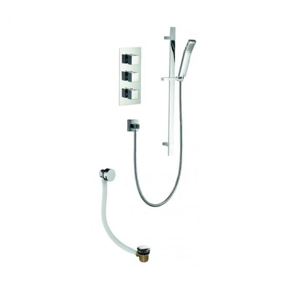 Pura Bloque2 Twin Outlet Shower Valve with Slide Rail Kit and Bath Filler